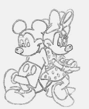 Mickey e Minie desenhado à mão